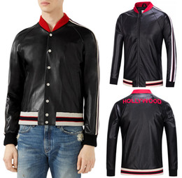 Wholesale Men S Red Leather Jacket - Black Biker Leather Jacket Men Short Style Skinny Fit Red Hollywood Embroidery Applique Bomber Jackets