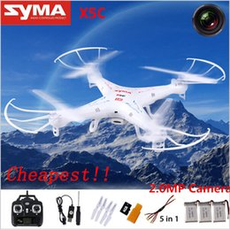Wholesale Rc Helicopter Battery Chargers - Drones SYMA X5C RC Drone Helicopter Quadcopter with HD Camera 2.4G 6-Axis RC Helicopter Toy 3 650mah batteries and 5in1 charger