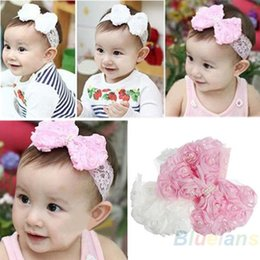Wholesale Cute Babies Red Roses - Cute Baby Girl Kid Toddler Pearl Headband Headwear Hat Accessories Rose Bow Lace Hairband Flower Headdress 1GYK
