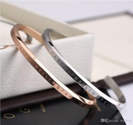 Wholesale Cuff Rings Wholesale - Rose Gold DW Cuff Bangle Bracelet Engraved Logo Lettering Titanium Steel Bangle Classic Luxury Brand Bracelets Fine Jewelry