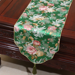 Wholesale Table Cover Sky Blue - Festive Flower Table Runner Cover Cloth Chinese style Stylish Silk Brocade Tea Table Cloths Bed Runners for Wedding Birthday Dinner Party