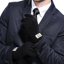 Wholesale Thick Winter Knit Gloves - Men Cashmere Knitted Gloves Thick Warm Patchwork TouchScreen Mittens Autumn Winter Male Solid Fitness Workout Glove Mitaine