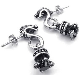 Wholesale Earrings Gothic Dragons - Mens Cubic Zirconia Stainless Steel Vintage Gothic Dragon Stud Earrings Black Silver Drop Shipping