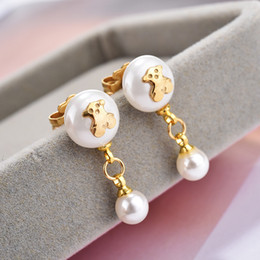Wholesale Unique Stainless Designs - New Design Unique Fashion Panda style stainless steel lady women silver pearl bead earrings jewelry party cute bears style gift earring
