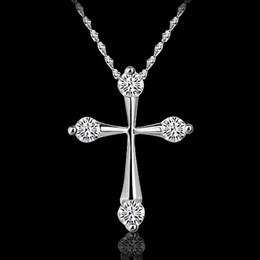 Wholesale Cross Pendant Necklace Sale - Cross Pendant Necklaces Hot Sale Silver Chain Necklaces Crystal Pendants For Women Girl Party Gift Fashion Jewelry Wholesale - 0010LDN