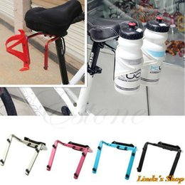 Wholesale Post Carbon - Bike Bicycle Cycling Seat Post Back Double Water Bottle Holder Cage Rack Adapter Free Shipping