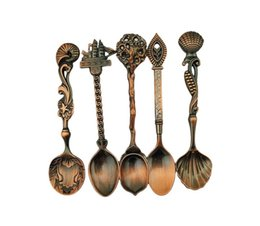 Wholesale Dining Forks - 5pcs set Vintage Royal Style Bronze Carved Small Coffee Spoon Flatware Cutlery Kitchen Dining Bar Tools