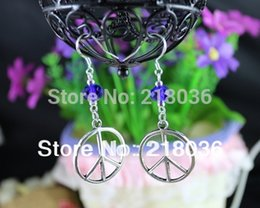 Wholesale Dangle Peace - Wholesale Fashion 50Pair Vintage Silver Peace Sign Charms 925 Sterling Silver Dangle Earrings For Women DIY Jewelry N1307