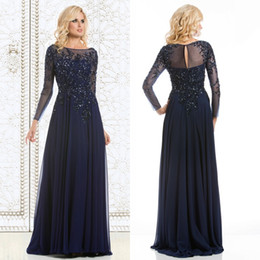 Wholesale See Through Chiffon Tops - 2015 Top Selling Elegant Mother of The Bride Dresses Navy Blue Chiffon See-Through Long Sleeve Sheer Neck Appliques Sequins Evening Dress