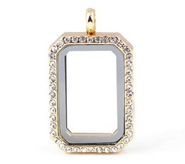 Wholesale Wholesale Floating Frames - Luxury Jewelry 33*23*8mm Square Photo Frame Magnetic Glass Memory Floating Charms Living Locket Fine Stainless Steel Jewelry Different Color