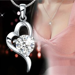Wholesale Cubic Zirconia Heart Necklace - 30% 925 sterling silver Top Grade Diamond Cubic Zircon Heart Pendant necklace For Wedding Dress Sets NEW ARRIVAL