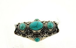 Wholesale Antique Turquoise Jewelry - Wholesale-Vintage Indian Turkish Silver Custom Carving Antique Persian Turquoise Stone Ring Boho Jewelry Ethnic Native American