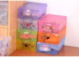 Wholesale Shoes Storage Case - 100pcs lot Clear Plastic Shoe Box Case Storage Organizer For Men's Shoes Size , Free Shipping