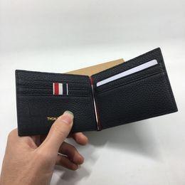 Wholesale Black Money Case - Genuine Leather Credit Card Holder Wallet Classic Black Designer Money Clip Wallet 2017 New Arrivals Mens Purses ID Card Case Free Shipping