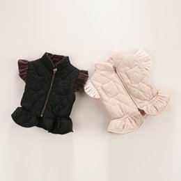 Wholesale Fleece Waistcoats - Girl Waistcoat Faux Fur Zipper Flare Sleeve Fleece Thick Vest Wholesale Children Clothing 2-7T 16328