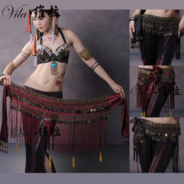 Wholesale Tribal Dancing Belt - 2017US Newwest Belly Dance Hip Scarf Coin Belt Tribal Costume Fringe Tassel Belt Copper design belly dance belt for women