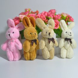 Wholesale Dolls Plush Monkey Toy - Bulk 8cm Cute rabbit with bow tie bunny for bouquet doll plush toy pendant lanyard Promotion Gifts 50pcs