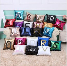 Wholesale Double R - 39 color Sequin Mermaid Pillow Case cover Reversible Sofa Cushion Cover r Glitter Sofa Cushion Case Double Color Pillowcase KKA983