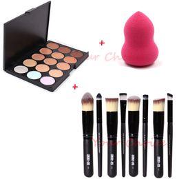 Wholesale Face Hair Cream - 15 Colors Contour Face Cream Makeup Concealer Palette + 8PC Powder Brush + 1PC Make-up Sponge Puff