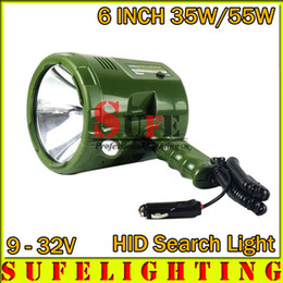 Wholesale Driving Lights 55w Hid - New 6INCH 35W 55W HID search light Outdoor spot light Rechargeable Hunting handheld Light 9-32V HID WORKING DRIVING LIGHT 12V 24V