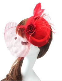Wholesale Vintage Bride Pin - 2015 New Bridal wedding hats for brides Fascinator Vintage Sweet Party evening Lace Flower Feather hair accessories for bridal TS83