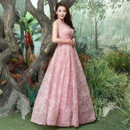 Wholesale Taffeta Gala Dresses - Pink Long Lace Prom Dresses Tulle Beaded Sweetheart Formal Evening Party Dresses for Graduation galajurken gala jurken