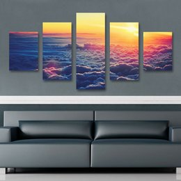Wholesale Sunrise Canvas Painting - 5 Panel SUNRISE The Family Decorates Print in The Oil Painting On Canvas,Wall Art Picture Gift cuadros de lienzo
