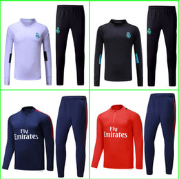 Wholesale Train Suits - Camisetas Maillot de foot Real madrid tracksuit sweater jogging suit survetement training suit chandal NEYMAR JR MBAPPE Ronaldo jersey 2018