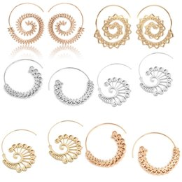 Wholesale Wholesale Gold Filled Wire - Vintage Gold Boho Jewelry Women Circles Round 14 Styles Swirl Wave Style Wire Hoop Statement Earrings Top Seller Preferred Free DHL D158S