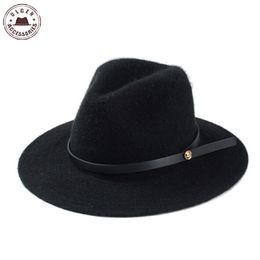 Wholesale winter felt hats for women - Wholesale-2015 Brand New Fashion Winter Fedora Hats for Women Hat Vintage Bowler Jazz Top Cap Felt Wide Brim black fedoras hat for men