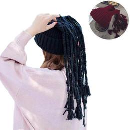 Wholesale Dyed Hair Wigs - 2017 Novelty Jamaican Knitted Wig Twist Braid Beanies Hat Unisex Solid African Braiding Hair Tassel Hip Hop Caps
