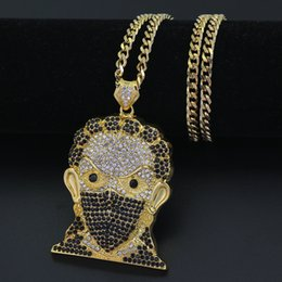 Wholesale Large Rhinestones - New Bling Bling Iced Out Large Size Head pendant Hip hop Necklace Jewelry 30inch stainless steel cuban chain N635