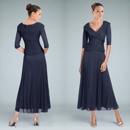 Wholesale Shirt Sky - New Arrival Dark Navy Tea Length Mother of the Bride Dresses with Sleeve A-Line V Neck Ruched Chiffon Modest Groom Wedding Party Gowns