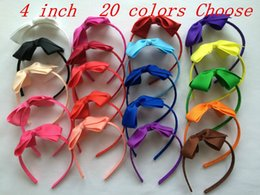 Wholesale Cheap Boutique Hair Bows - 10% OFF 2015 cheap sale!4 INCH,20 colors,baby girl grosgrain Ribbon Boutique bow alice band hairband children Hair accessories 24pcs lot