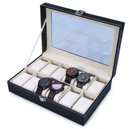 Wholesale Faux Leather Storage - Wholesale-2016 New Luxury Brand Watch Display Box Faux Leather 12 Grid Case Jewelry Storage Organizer Couple Watch Gift caja reloj 1679821