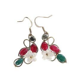 Wholesale Natural Shell Chandelier - New Fashion Dangle Earrings Natural Stone Shell Flower Drop Earring Woman Jewelry Hanging Earrings Handmade Dangle Chandelier Long Earring