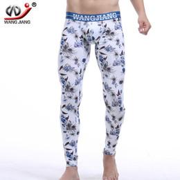Wholesale Wangjiang Men S Underwear - Wangjiang Gay Sexy mens thermal underwear long johns Cotton Brand cueca thermo clothes Floral Print pajamas Men winter leggings