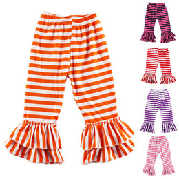 Wholesale Baby Knit Tights - Girls Ruffle Stripes Pants 5 colors Knit Cotton Striped Ruffles Baby Pants Trousers girl legging children pants