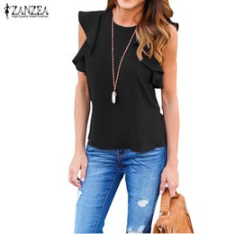 Wholesale Brown Ruffle Blouse - Wholesale- ZANZEA Women Blouse 2017 Summer Sexy O Neck Sleeveless Ruffles Shirts Casual Slim Solid Blusas Plus Size Tee Tops
