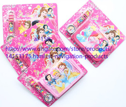 Wholesale Snow White Wallets - New Arrival China Made Children's Digital Watches And Wallets Set Snow White Princess Cartoon Wristwatch Kids Birthday Christmas Gift 100 pc