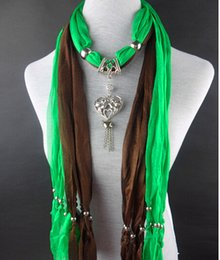 Wholesale Embellished Scarf Necklace - HWJ1004 Women Soft Alloy Jewelry Scarves Hollow Siliver Heart Pendant Necklace Colorfully Necklace Shawl.20pcs lot 180x45cm Free Ship