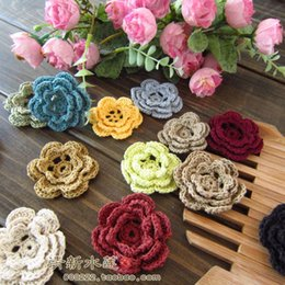 Wholesale Girls Crochet Wear - Free shipping Fashion design4 colors 50 pics handmade girl head wear accessories crochet stereo 100% cotton multicolour doily