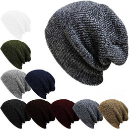 Wholesale Slouch Baggy - Slouchy Baggy Beanie Oversized Thick Cap Skull Hat Cotton Hip Hop Ring Warm Winter Autumn Unisex Slouch Color