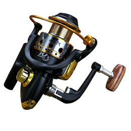 Wholesale Fishing Rafts - JX1000-7000 Series Metal Spinning Fishing Reel 5.1:1 Boat Raft Fishing Fish Wheel Pesca Carrete 10BB Black Gold