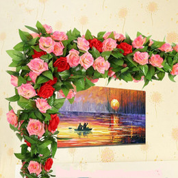 Wholesale Pipe Wall Mount - 3 Color Simulation Rose Flower Rattan Air Conditioning Water Pipe Attic Home Rattan Wedding Festive Decoration