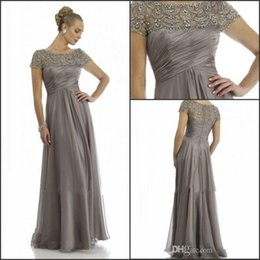 Wholesale Evening Gown Party Wedding Brown - 2017 Long Mother Of The Bride Dresses Grey Plus Size Short Sleeve Beaded A Line Chiffon Formal Wedding Party Dress Mum Evening Gown