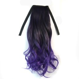 Wholesale Extension Chignon - Charming Black Mixed Purple Two Tone Ombre Colorful Chignon Ponytail 45cm Long Softed Wave Synthetic Ribbon Ponytails Clip In Extensions
