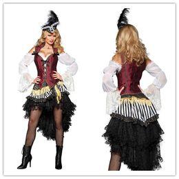 Wholesale Corset Vest Costume - Cosplay Sexy Costumes For Women High Seas Treasure Costume Brocade Corset Vest Hip Sash Black Lace Petticoat Plume O28055