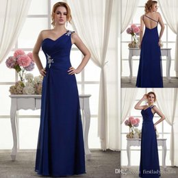 Wholesale Bridesmaid Dresses One Shoulder Corset - 2015 Gorgeous Backless Royal Blue Bridesmaids Dresses One Shoulder Chiffon Long Corset Beaded Pleats Custom Made Wedding Party Gowns On Line