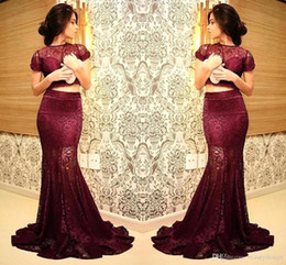 Wholesale Burgundy Cap Sleeve - Burgundy Two Piece Dresses Fulle Lace Mermaid Evening Dresses 2016 Sheer Cap Sleeves Prom Dresses Arabic Party Gowns Robe Vestiods BA1928